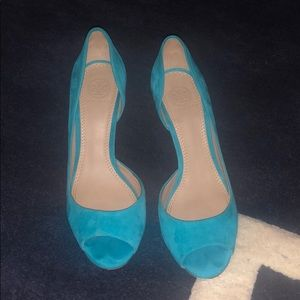 Teal suede D'Orsay Pumps, Tory Burch, Size 7.5